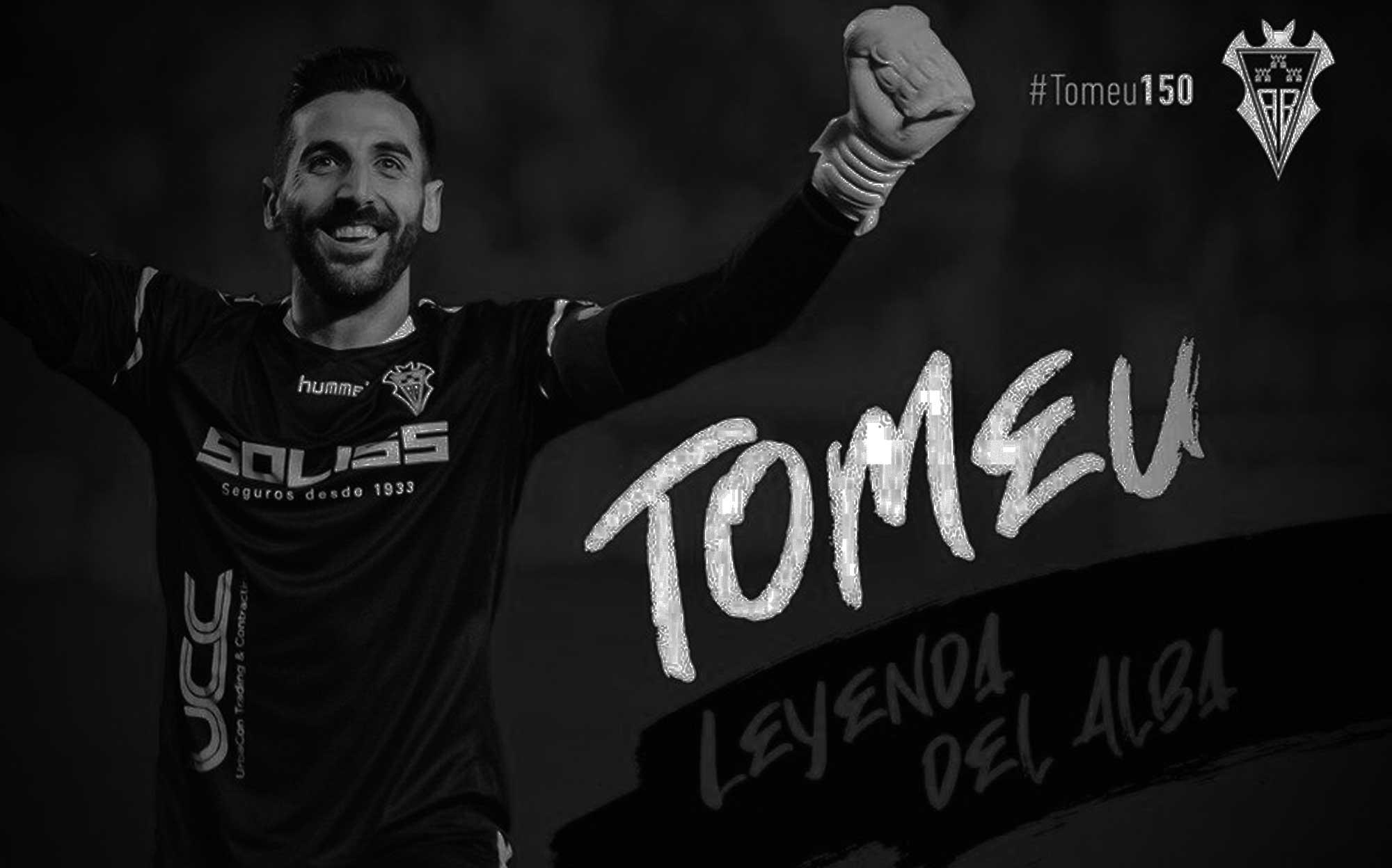 Imagen de Tomeu Nadal en blanco y negro como leyenda del Albacete con 150 partidos
