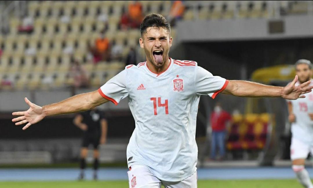 Imagen de Hugo Duro celebrando el gol marcado con la sub-21 en Macedonia