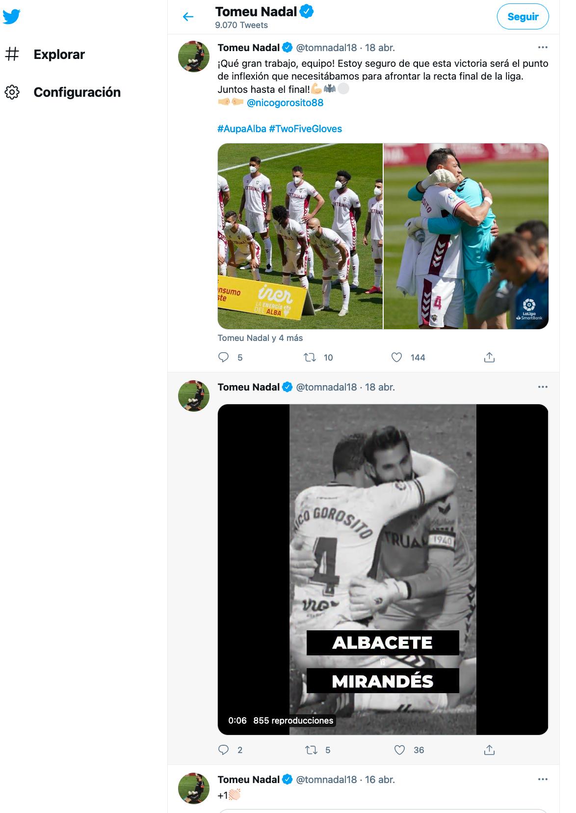 Imagen del twitter de Tomeu Nadal
